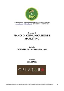 Piano di comunicazione e marketing Gelataro